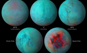 Infrared eyes on Enceladus: hints of fresh ice in northern hemisphere