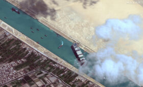 Remote sensing companies share satellite views of ship stuck in Suez Canal
