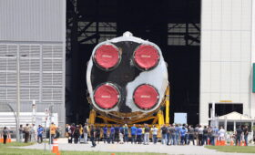 Core of NASA's first Artemis moon rocket towed into Vehicle Assembly Building