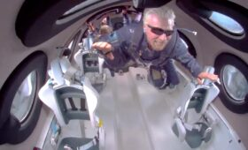 Richard Branson rockets into space