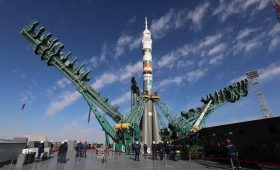Soyuz rocket rolls out for launch of Russian film crew
