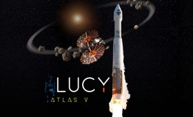Atlas 5 rocket rolls out to launch pad with NASA's Lucy asteroid probe