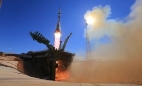 Soyuz arrives at space station for out-of-this-world film shoot